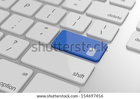 3d render of storage icon button on keyboard with soft focus