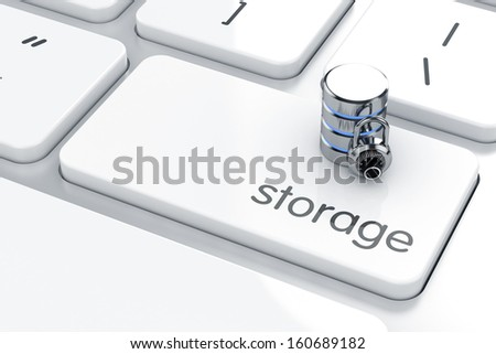3d render of storage icon on the keyboard. Safe storage concept - stock photo