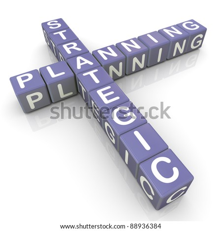 3d render of strategic planning crossword