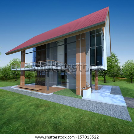 3D render of sustainable house with green area