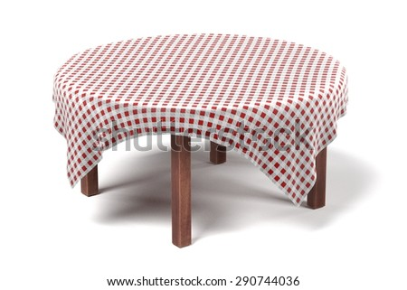 3d render of tablecloth on table - stock photo