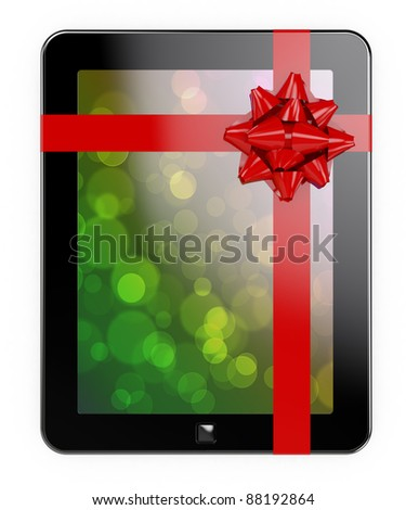 3d render of tablet PC with red ribbon and bow - stock photo