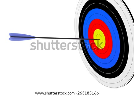 3d render of target with arrow isolated on white background