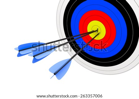 3d render of target with arrows isolated on white background - stock photo