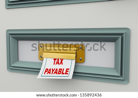 3d render of tax payable bill arriving from door letter slot - stock photo