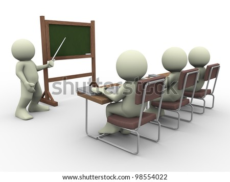 3d render of teacher teaching students in class room - stock photo