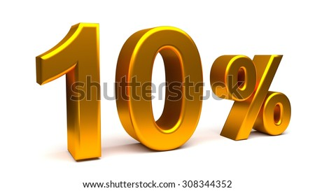 3D render of Ten percents text in big golden letters on a white background.