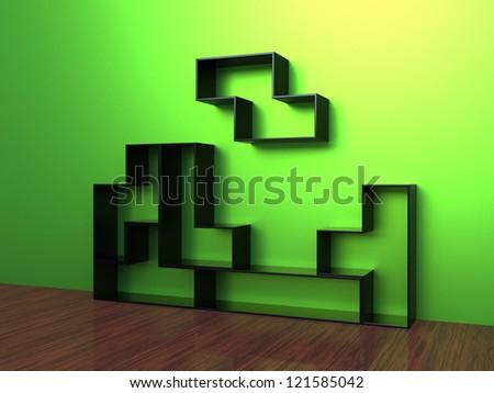 3d render of Tetris Shelf Unit on a green wall - stock photo