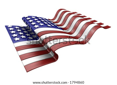 3D render of the American flag