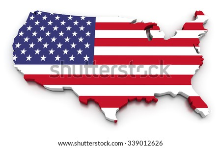 3D render of the American map in the colors of its flag. - stock photo