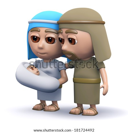 3d render of the baby Jesus with Mary and Joseph - stock photo