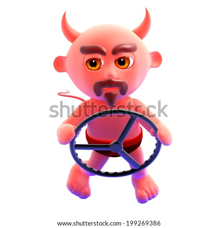 3d render of the devil at the steering wheel