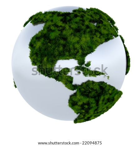 3D render of the earth covered in grass