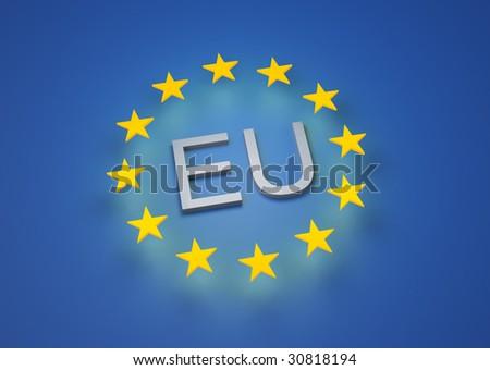 3D render of the EU flag - stock photo