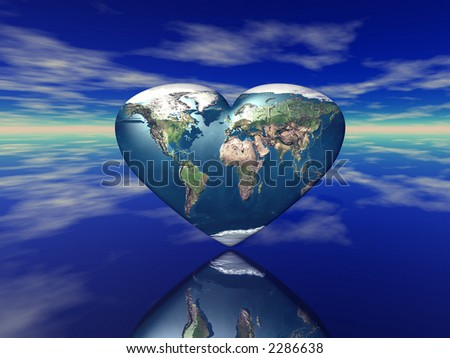3D render of the heart shaped planet Earth (see more in my portfolio)