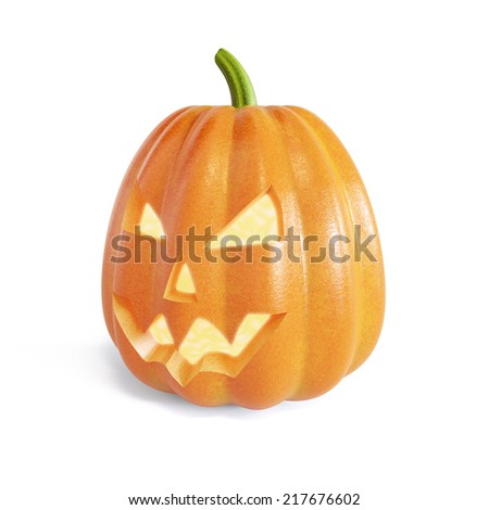 3d render of the Jack O Lantern halloween pumpkin with candle light inside. Isolated on white background - stock photo