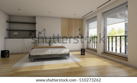 3d render of the modern bedroom interior