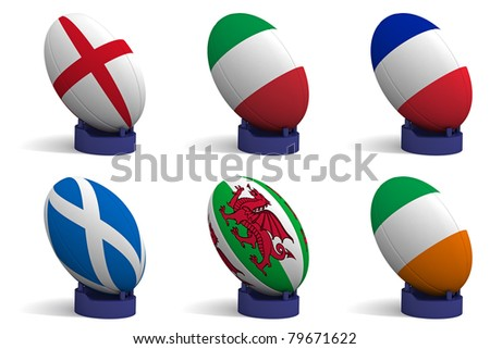 3D Render of the 6 participating nations in the Six Nations rugby tournament. - stock photo