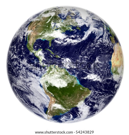 3d render of the planet Earth Image courtesy of NASA http://visibleearth.nasa.gov/useterms.php - stock photo