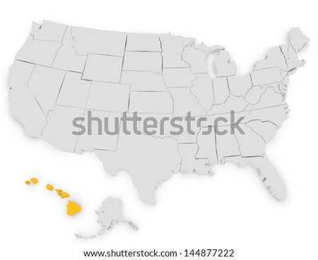 3d Render of the United States Highlighting Hawaii - stock photo