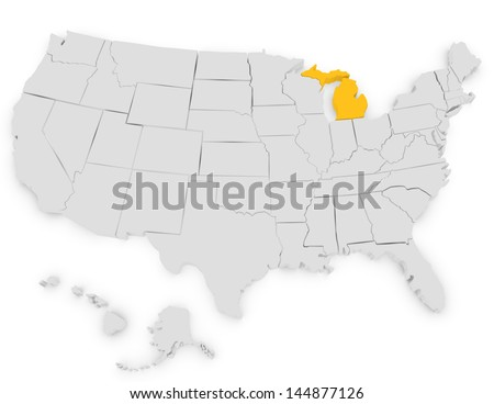 3d Render of the United States Highlighting Michigan - stock photo