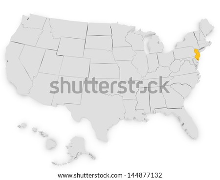 3d Render of the United States Highlighting New Jersey - stock photo