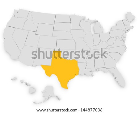 3d Render of the United States Highlighting Texas