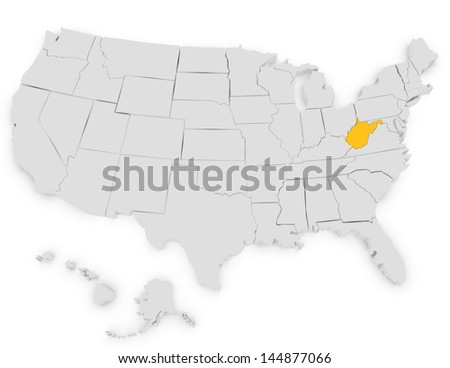 3d Render of the United States Highlighting West Virginia
