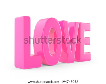 "3d render of the word ""LOVE"" in pink"