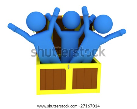 3d render of three persons with treasure chest. - stock photo