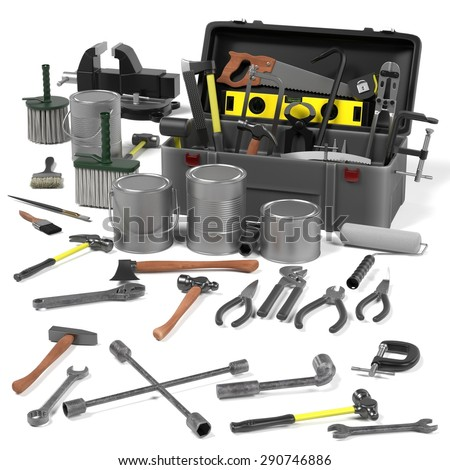 3d render of tool box - stock photo