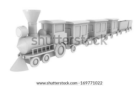 3d render of toy train on white background