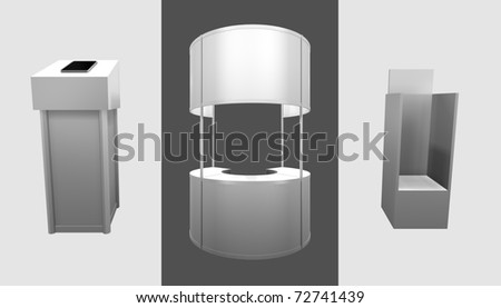3d render of trade exhibition counters - stock photo