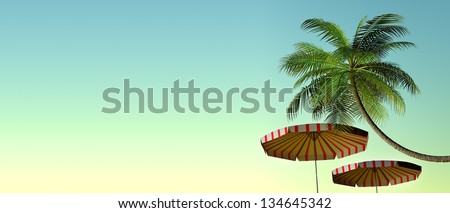 3d render of Tropical beach panorama with umbrellas and palm tree - stock photo