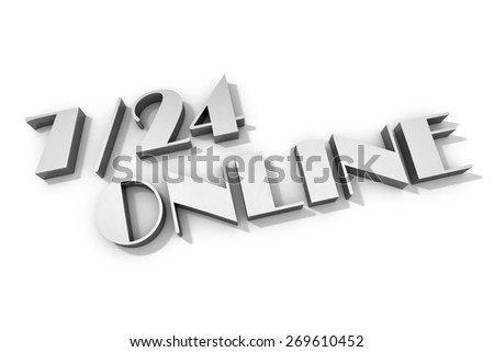 3d render of twenty four hours/seven days online - stock photo