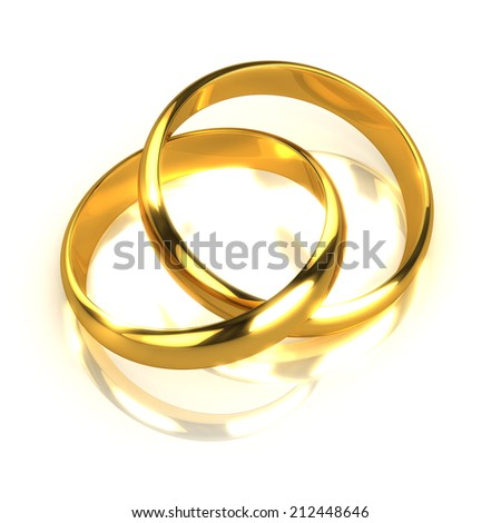 3d render of two gold rings joined together - stock photo