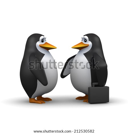 3d render of two penguins conduct their business