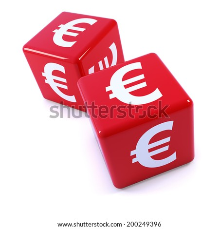 3d render of two red Euro currency dice - stock photo