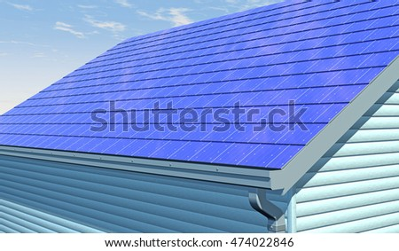 3D render of UAV drone inspecting an integrated solar shingle roof. Fictitious UAV and generic solar panels; lens flare, depth-of-field and motion blur for dramatic effect.