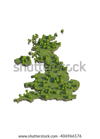 3d render of UK map section cut isolated on white with clipping path - stock photo