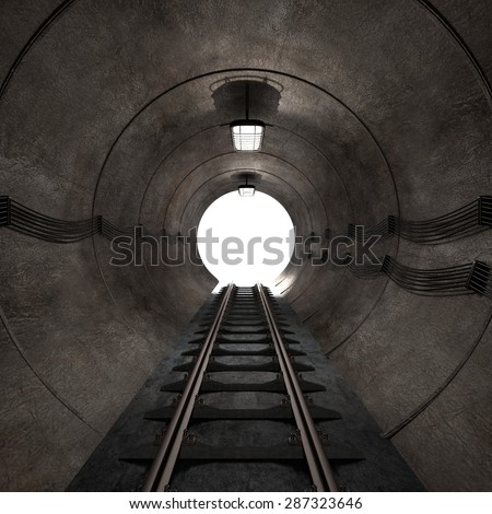 3d render of underground tunnel - stock photo