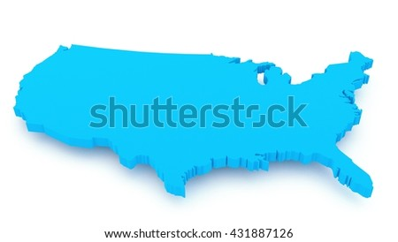 3D render of USA map isolated on white background, close up  - stock photo