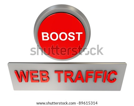 3d render of web traffic boost button - stock photo