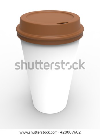 3d render of white coffe cup with plastic brown lid