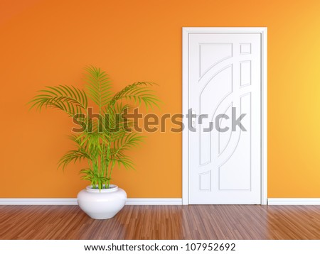 3D render of white door in orange wall and decorative plant in white vase - stock photo