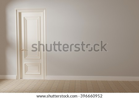 3d render of white empty interior with door