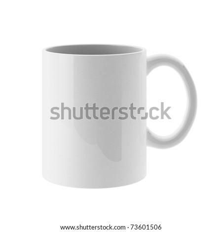 3d render of white mug - stock photo