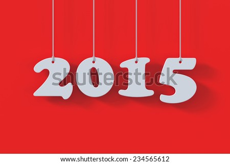 3d render of 2015 white paper origami card on red background - stock photo