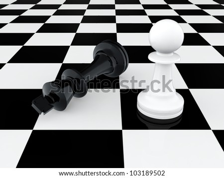 3D render of white pawn defeating chess king - stock photo