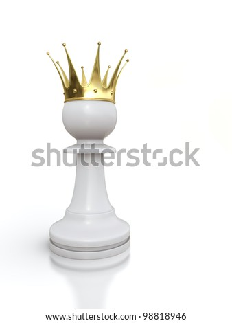 3D render of white pawn with golden crown isolated on white background. - stock photo